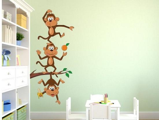 מדבקות קיר קופים מצחיקים