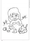 ילדה עם כלב וגוזלים